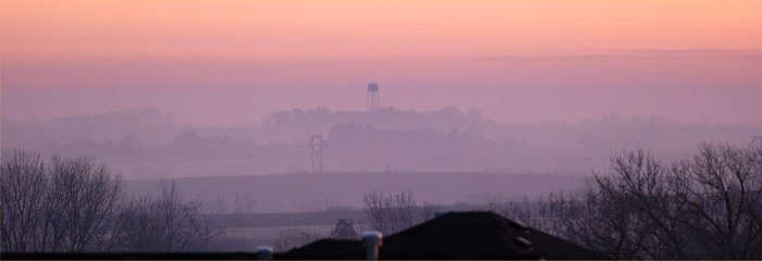a foggy sunrise in Lincoln